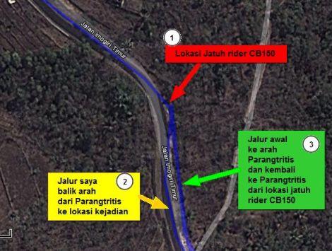 Rider CB150 Down - 'Jalan Parang Tritis - Google Maps'