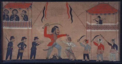 Lukisan tradisional Jawa karya Tirto dari Gresik, Jawa Timur, yang dibuat pada 1890 - 1900, menggambarkan terbunuhnya Kapten François Tack oleh Surapati di Kartasura (1686) di bawah Susuhunan Amangkurat II. Foto : Tropenmuseum/Wikimedia Commons