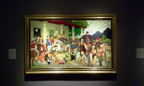 Reproduksi 'Penangkapan Diponegoro' karya Raden Saleh yang diberi judul This Hegemony Life, karya Indieguerillas, duet perupa asal Jogja: Miko Bawono dan Santi Ariestyowanti. Karya ini pertama kali dipamerkan di Singapura pada 2012, di gelaran Marcel Duchamp in South-East Asia.