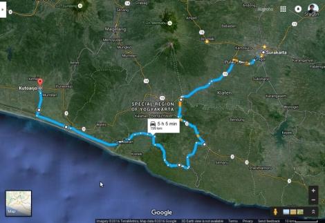 Jalur Sala - Kutoarjo melalui Wonosari, Gunung Kidul, sebagian kecil jalur Selatan, dan Jalan Daendels, Juli 2015.